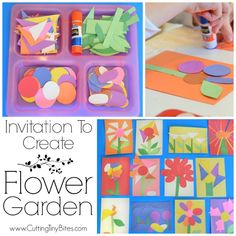 Invitation To Create: Flower Garden. Open ended creative spring paper craft for kids. Great for fine motor development. Perfect for toddlers and preschoolers. Gardening Invitation To Create- Flower Garden Kindergarten Art, Toddler Preschool, Preschool Crafts, Toddler Activities, Preschool Garden, Spring Activities, Preschool Activities, 5 Year Old Activities, Themes For Preschool