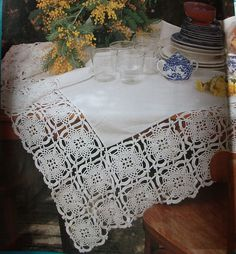 Lace crochet & fabric tablecloth