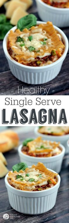Single Serve Healthy Lasagna Dinner ideas are right here! Make up a few of these Single Serve Healthy Lasagna meals ahead of time for a quick dinner anytime. Single Serve Meals, Single Serving Recipes, Meals For Two, Main Meals, Mug Recipes, Pasta Recipes, Dinner Recipes, Cooking Recipes, Healthy Recipes