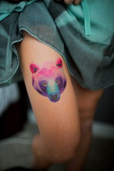 Watercolor style temporary tattoo by Sasha Unisex. https://www.tattooyou.com/product/sasha-unisex-bear/