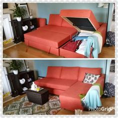 Delicieux Ikea Friheten Sofa In Burnt Orange, Target Rug, Crate And Barrel Wicker  Storage,
