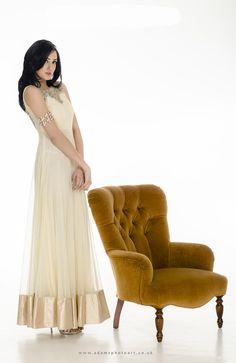 Ivory hand-embroidered floor-length anarkali dress