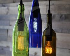 The Vineyard - 3- Light Chandelier from recycled wine bottles
