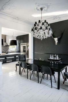 I'm all about that black wall with the skull,the table and chairs are pretty awesome but I'm more into a rustic lighting and less glam,