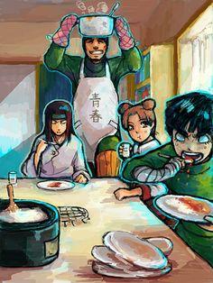 Team Gai/ Team 9 - the love of curry and the love of youth! Anime Naruto, Neji And Tenten, Naruto Y Boruto, Naruto Comic, Naruto Funny, Naruto Girls, Gaara, Naruhina, Itachi