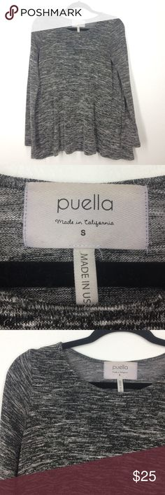 Anthropologie Puella grey swing top size small Soft Jersey material. Dark grey heather. Very clean! Excellent condition! Anthropologie Tops Tees - Long Sleeve
