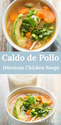 caldo de pollo is a delicious mexican chicken soup. This soup recipe is perfect during the chilly Fall and Winter seasons. Mexican Chicken Stew, Mexican Soup Recipes, Stew Chicken Recipe, Vegetable Soup With Chicken, Mexican Dishes, Chicken Soup, Dinner Recipes, Dinner Ideas, Clean Eating Soup