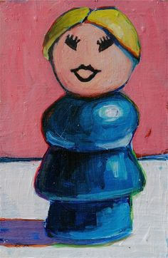 Fisher Price Mom. Original Painting by Meredith Steele