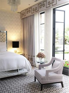 Elegant Contemporary Bedroom by Jamie Herzlinger.  Fabric: Colette from Donghia