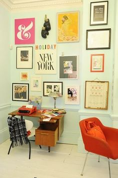Gallery Walls can be expensive, but you can save money by framing pages from magazines, offcuts of fabric, printed paper, and images you print online (tsk tsk)