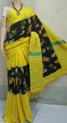 Pure cotton handloom khes Kalamkari special edition Saree with BP Kalamkari Saree, Elegant Saree, Indian Style, Cotton Saree, Indian Sarees, Indian Fashion, Sari, Dresses For Work, Embroidery