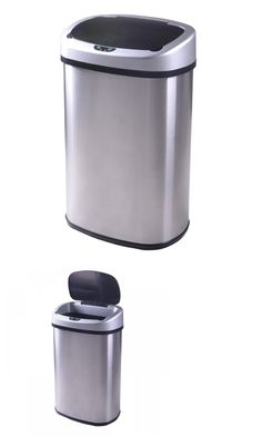 Trash Cans And Wastebaskets Trash Cans And Wastebaskets 20608 Double Compartment Stainless