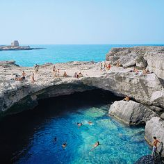 Summer visitors to Puglia's Salento Peninsula in Italy flock to Grotta della Poesia, east of Lecce, dubbed the Florence of the South. Places To Travel, Places To See, Travel Destinations, Travel Tourism, Nightlife Travel, Holiday Destinations, Dream Vacations, Vacation Spots, Italy Vacation