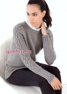 Пуловер с плетенным узором на рукавах