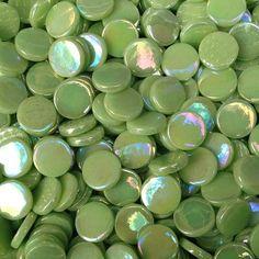 pr03i - Apple Green - IridescentPennyRound - Kismet Mosaic