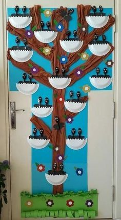Baby birds made with spoons and paper plate nests on a classroom tree. So cute! #spring #kindergarten
