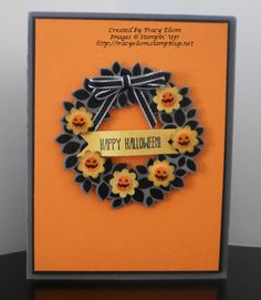 handmade Halloween card designed by Tracy Elsom using Wondrous Wreath stamp set and Wonderful Wreath Framelits dies ... luv the little pumpkin face centers on the punched scalloped circles ... Stampin' Up!