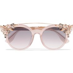 Jimmy Choo Vivy/S round-frame embellished acetate and gold-tone... (780 CAD) ❤ liked on Polyvore featuring accessories, eyewear, sunglasses, glasses, jimmy choo, pink, round sunglasses, round frame sunglasses, uv protection sunglasses and pink sunglasses