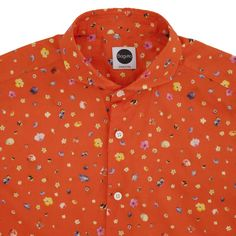 Orange Micro-Floral Print Cotton Shirt - Bagutta - Storytalia Shop