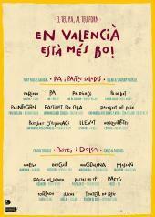 """Cartel campaña Diputació València sobre promoción del uso del valenciano, en este caso en panaderías. """"En valencià està més bo!"""" (¡En valenciano está más bueno!). Diseño de: www.marialsoy.com"""