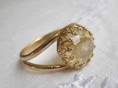 Rutilated Quartz gold ring Gemstone ring Gold by EldorTinaJewelry, $59.00