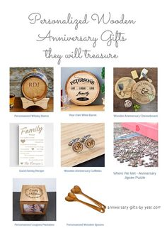 Personalized wooden anniversary gifts for him, her and happy couples
