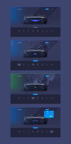 Web, product, page, concept, console, joystick, sony, playstation, controller, dark, minimalism