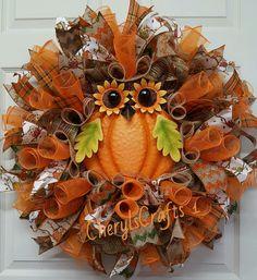 Fall Wreath,Fall Mesh Wreath,Owl Wreath,Autumn Wreath,Halloween Wreath,Front…