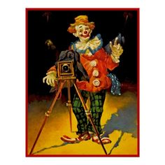 Clown Photographer 39 X 30 Original by Julian Ritter Oil on Masonite From the Silver Slipper Collection Le Clown, Clown Faces, Circus Clown, Creepy Clown, Circus Theme, Pierrot, Clown Paintings, Watercolor Paintings, Mime