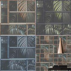 AS Creation Tropical Jungle Palm Tree Leaf Leaves Tiles Wallpaper Vinyl Textured - Brown Teal Black Orange 37740-1