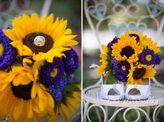 Sunflowers and Wedding Rings and Shoes!  Love Purple and Yellow and this darling antique chair!