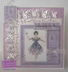 Marie Jones - Cinderella CD: Card Companion 5 - Co-ordinating Paper Design 6 Colour 2. Printable Light Card - Centura Pearl Snow White Hint of Silver - Die'sire Edge'ables: Butterfly Dreams - Cut n Boss - Collall All Purpose, Tacky & 3D glues - Other: Ribbon, Glue pen, Glitter, Gems, Lilac card - #crafterscompanion