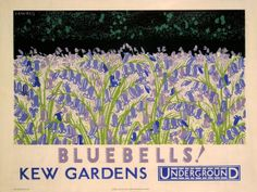Kew Gardens - London Underground poster by Irene Fawkes, 1930 Art Deco Posters, Poster Prints, Kew Gardens London, London Transport Museum, London Poster, Railway Posters, Beautiful Posters, London Underground, Vintage London