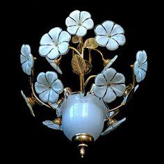 Fabulous Vintage Italian Murano Jar/ Flower Bouquet Venini Art-Glass Chandelier