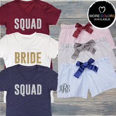 Squad Pajama Set with Relaxed V-Neck Tee and by BeforeTheIDos #bride #beforetheidos #squad #bridesmaid