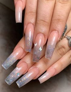 In seek out some nail designs and some ideas for your nails? Listed here is our listing of must-try coffin acrylic nails for modern women. Cute Acrylic Nail Designs, Best Acrylic Nails, Summer Acrylic Nails, Cool Nail Designs, Art Designs, Clear Nail Designs, Ballerina Acrylic Nails, Butterfly Nail Designs, Grey Nail Designs
