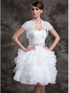 Wedding Dresses - $166.99 - A-Line/Princess Sweetheart Knee-Length Organza Satin Wedding Dress With Beading Sequins Cascading Ruffles  http://www.dressfirst.com/A-Line-Princess-Sweetheart-Knee-Length-Organza-Satin-Wedding-Dress-With-Beading-Sequins-Cascading-Ruffles-002024083-g24083