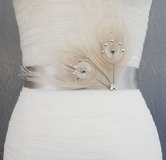 Metal studded white peacock feather silk sash by ChelseaRoseBridal, $52.00