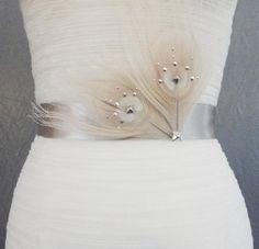 Metal studded white peacock feather silk sash by ChelseaRoseBridal, $52.00
