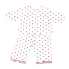 """Puppen Zubehör, Puppenschlafanzug, Pyjama, """"Sterne rosa"""", 100% Baumwolle von sugarapple"""