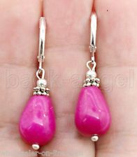Handmade Fuchsia Jade W. Gemstone Silver Dangle Earrings Leverbacks