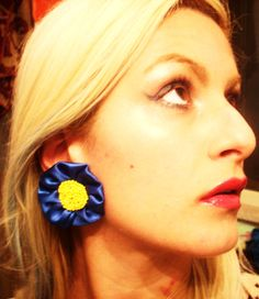 Earrings made of satin, hand embroidered
