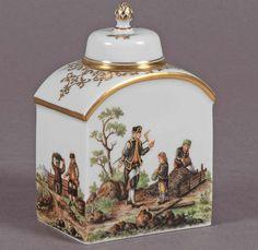 Kleine Teedose Manufaktur Meissen, Schwerter unterglasurblau, I. Wahl, vierseitige Wandung mit gerun