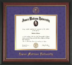 James Madison U Diploma Frame-Rosewood Gold L-Seal-Purple Suede/Gold – Professional Framing Company