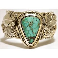 Old Pawn Navajo Mountain Turquoise Sterling Silver Cuff Bracelet - Ben Begaye