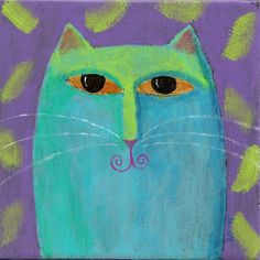 Abstract Painting Blue Cat Hand Painted Art Tile by jackieludtke, $40.00