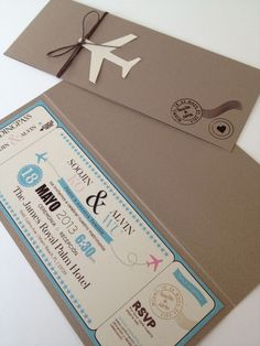 Boarding pass invitation would be perfect for a moving party or destination wedding Creative Wedding Invitations, Destination Wedding Invitations, Wedding Stationary, Wedding Invitation Cards, Wedding Themes, Wedding Designs, Wedding Cards, Wedding Planning, Destination Weddings