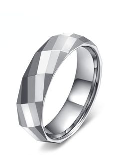White tungsten is ideal for those who want their tungsten wedding bands to have a white gold like color. This mens faceted ring is one of our most unique styles. Many geometric facets have been handcrafted with high precision all around this ring, giving this ring a crystallized look.  This beautiful wedding band comes in 6mm width.