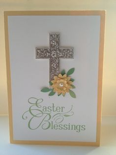Crosses of Hope and Easter Blessings stamps from Stampin' Up! Flower made from Boho Blossoms and Bird Builder punches. Heat embossed with new pewter EP.