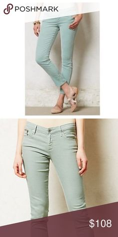 """AG """"The Stevie ankle"""" jean NWT! Gorgeous mint color, more mint than pictured, slim straight leg style. Classic style & fashion. Inseam is 27in. and waist is 14in. Anthropologie Jeans Ankle & Cropped"""
